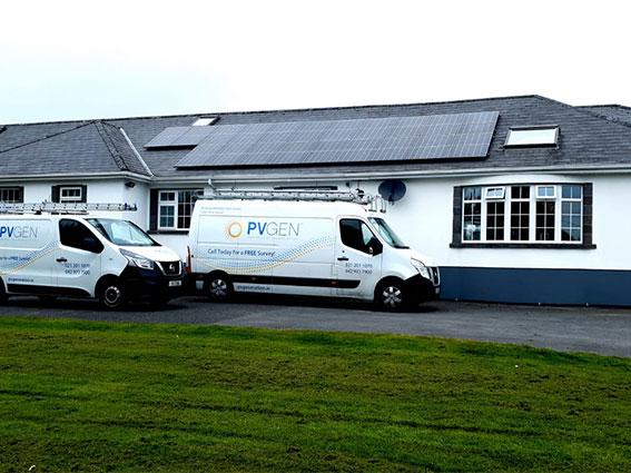 Bungalow with solar panels & PV Generation van